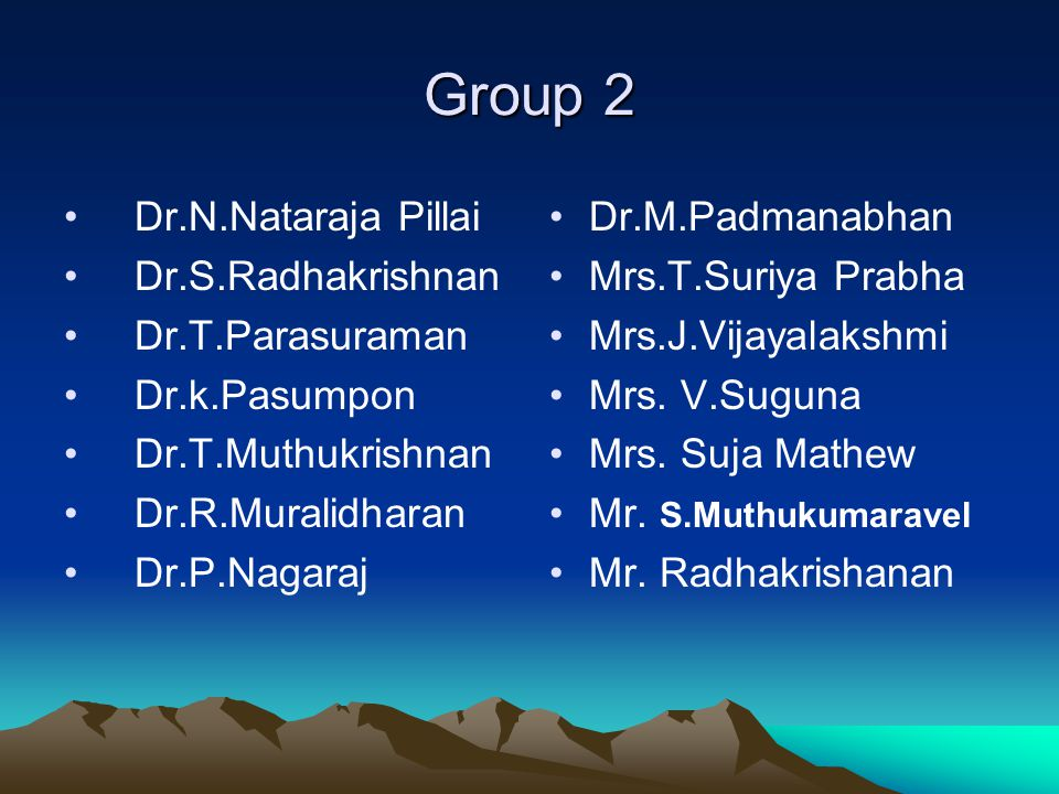 Group 2 Dr.N.Nataraja Pillai Dr.S.Radhakrishnan Dr.T.Parasuraman Dr.k.Pasumpon Dr.T.Muthukrishnan Dr.R.Muralidharan Dr.P.Nagaraj Dr.M.Padmanabhan Mrs.
