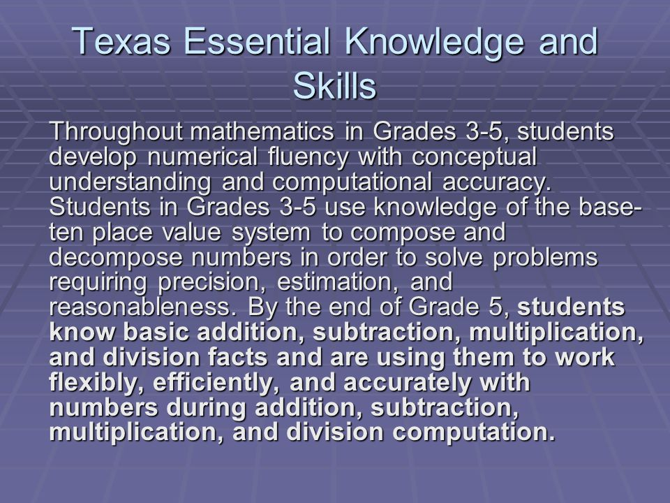 Texas Essential Knowledge and Skills Throughout mathematics in Grades 3-5, students develop numerical fluency with conceptual understanding and computational accuracy.