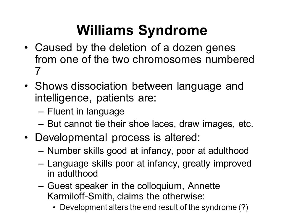 Williams Syndrome Caused by the deletion of a dozen genes from one of the two chromosomes numbered 7 Shows dissociation between language and intelligence, patients are: –Fluent in language –But cannot tie their shoe laces, draw images, etc.