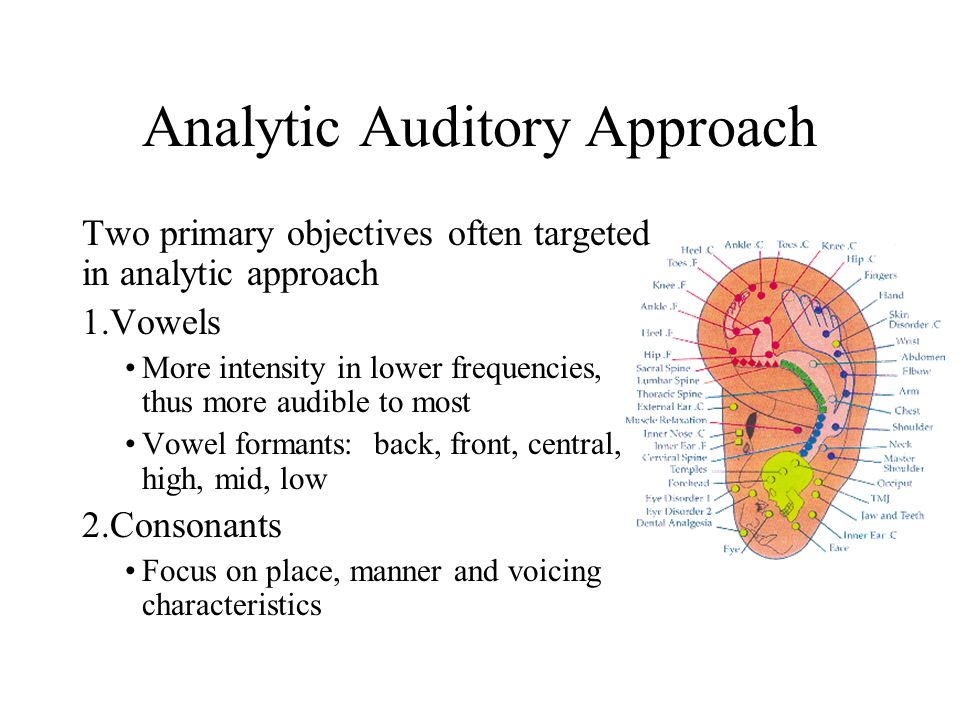Analytic Auditory Approach Two primary objectives often targeted in analytic approach 1.Vowels More intensity in lower frequencies, thus more audible