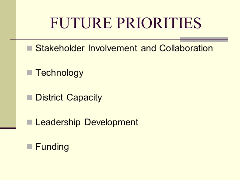 FUTURE PRIORITIES Stakeholder Involvement and Collaboration Technology District Capacity Leadership Development Funding