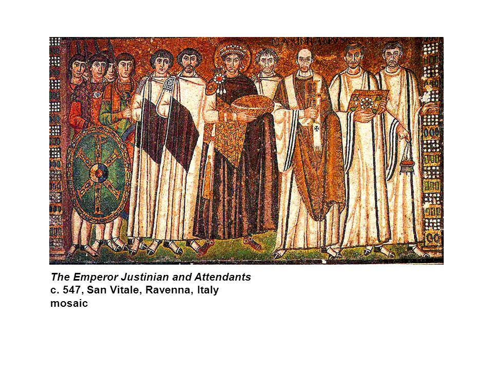 The Emperor Justinian and Attendants c. 547, San Vitale, Ravenna, Italy mosaic