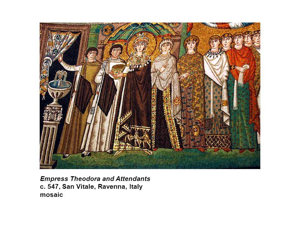 Empress Theodora and Attendants c. 547, San Vitale, Ravenna, Italy mosaic