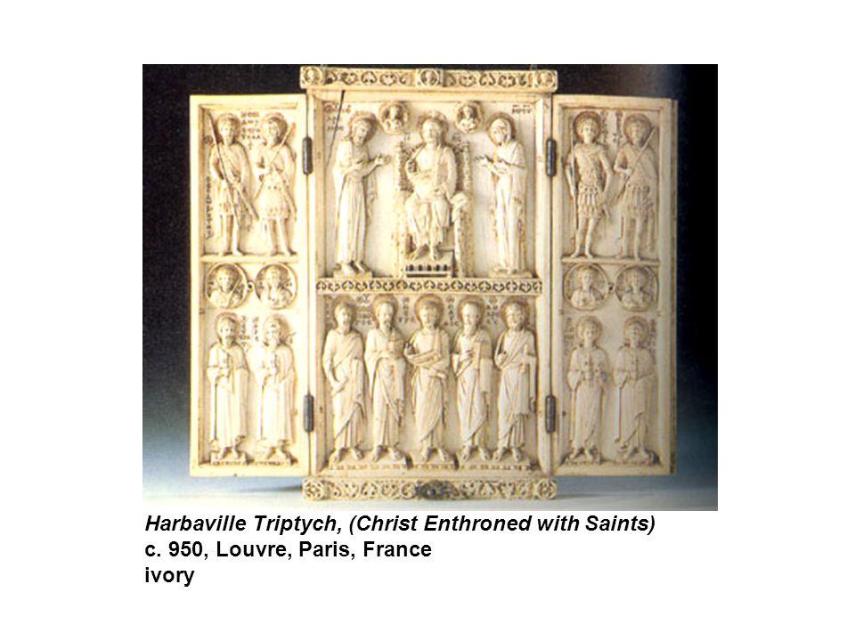 Harbaville Triptych, (Christ Enthroned with Saints) c. 950, Louvre, Paris, France ivory