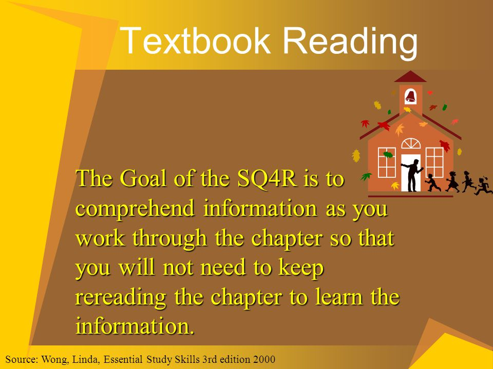 Textbook Reading The Goal of the SQ4R is to comprehend information as you work through the chapter so that you will not need to keep rereading the cha