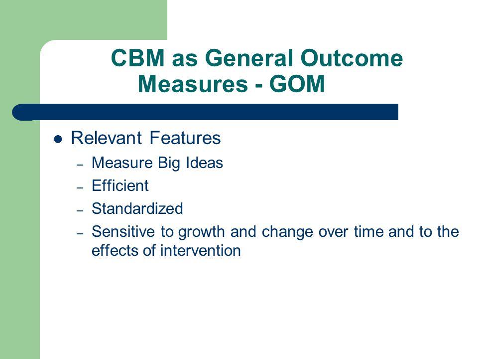 CBM Levels of Performance 1.