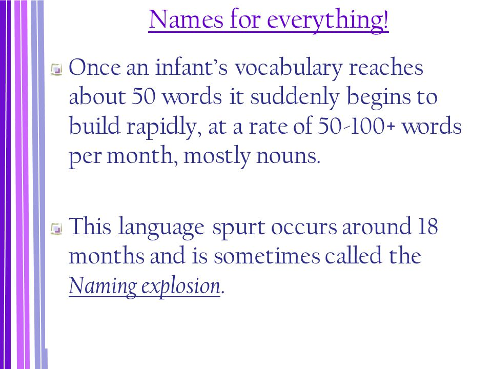 Names for everything! Once an infant's vocabulary reaches about 50 words it suddenly begins to build rapidly, at a rate of 50-100+ words per month, mo