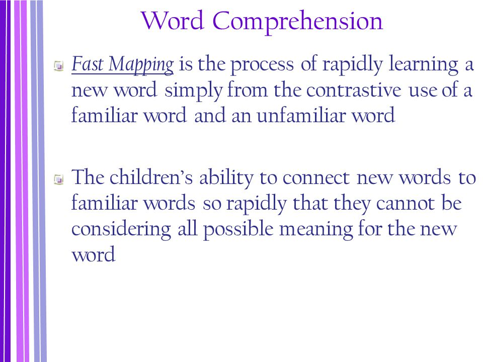 Word Comprehension Fast Mapping is the process of rapidly learning a new word simply from the contrastive use of a familiar word and an unfamiliar wor