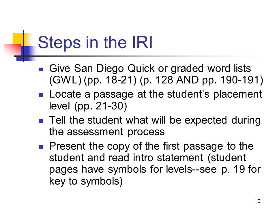 9 IRI Criteria-p. 9 LEVEL WORD REC COMP Independent 99% or more 90% or more Instructional 95% or more 60% or more Frustration 90% or less 50% or more