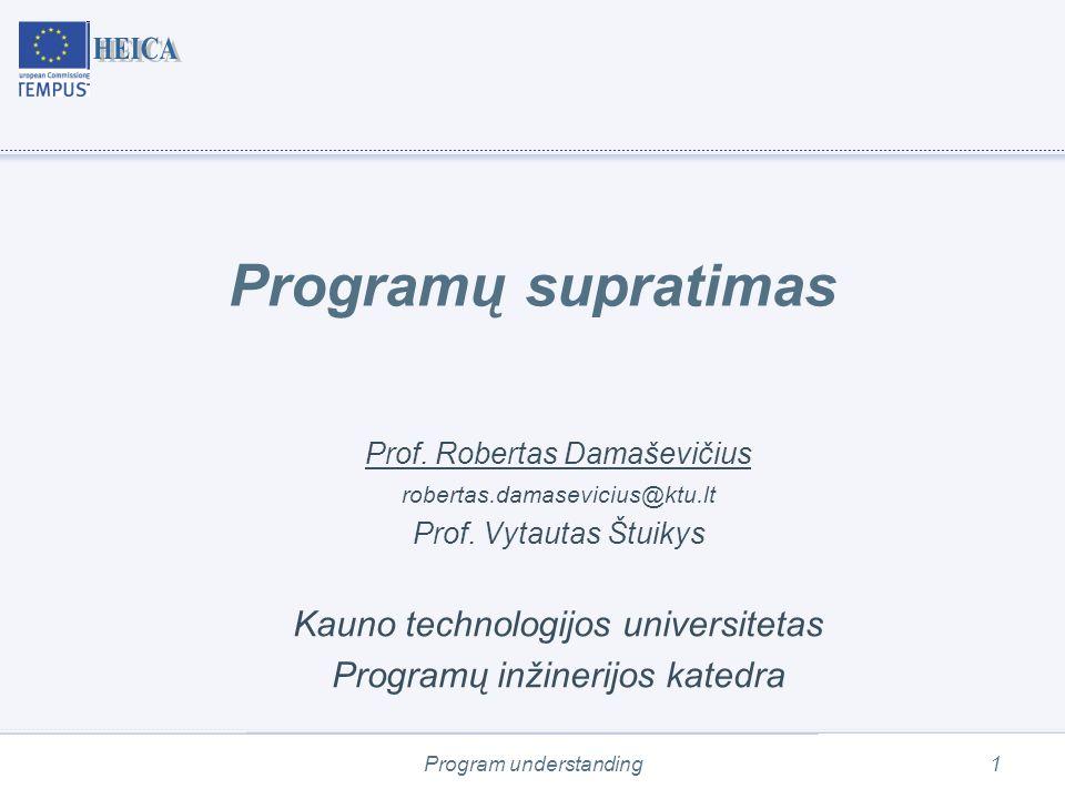 Program understanding2 Turinys Sąvokų apibrėžimas Programų suvokimo rolė PĮ priežiūroje Programų suvokimo iššūkiai Programų suvokimo (kognityviniai) modeliai Programų inspekcija