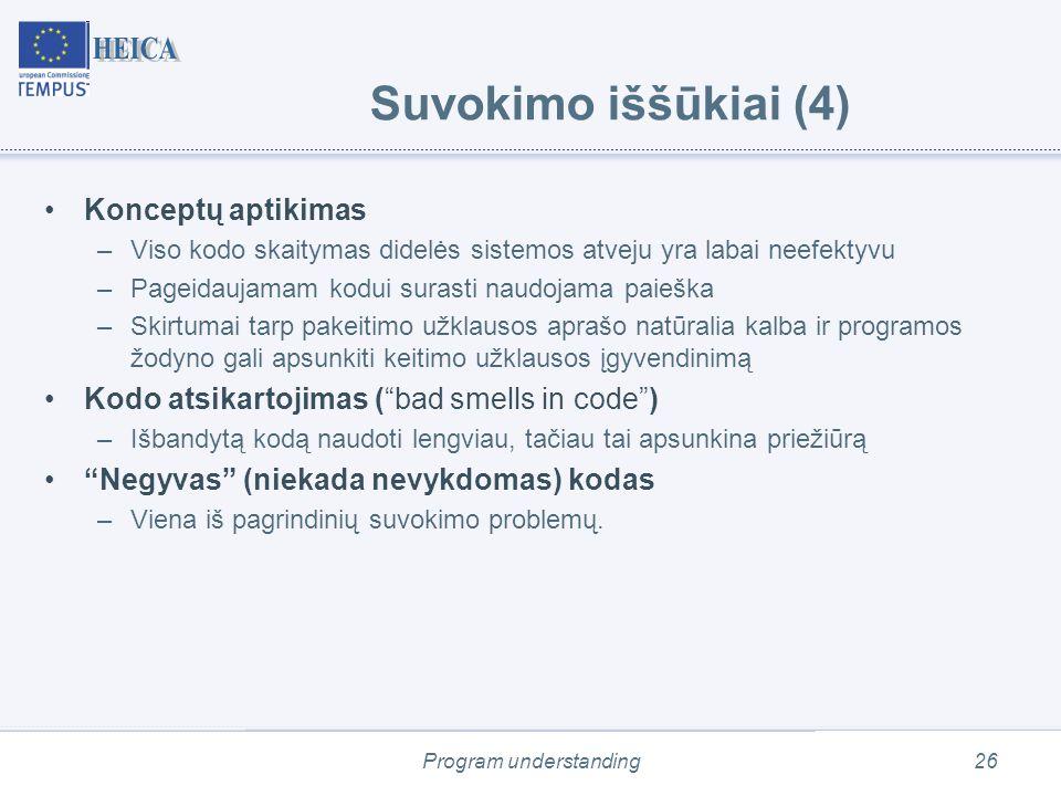 Program understanding26 Suvokimo iššūkiai (4) Konceptų aptikimas –Viso kodo skaitymas didelės sistemos atveju yra labai neefektyvu –Pageidaujamam kodui surasti naudojama paieška –Skirtumai tarp pakeitimo užklausos aprašo natūralia kalba ir programos žodyno gali apsunkiti keitimo užklausos įgyvendinimą Kodo atsikartojimas ( bad smells in code ) –Išbandytą kodą naudoti lengviau, tačiau tai apsunkina priežiūrą Negyvas (niekada nevykdomas) kodas –Viena iš pagrindinių suvokimo problemų.