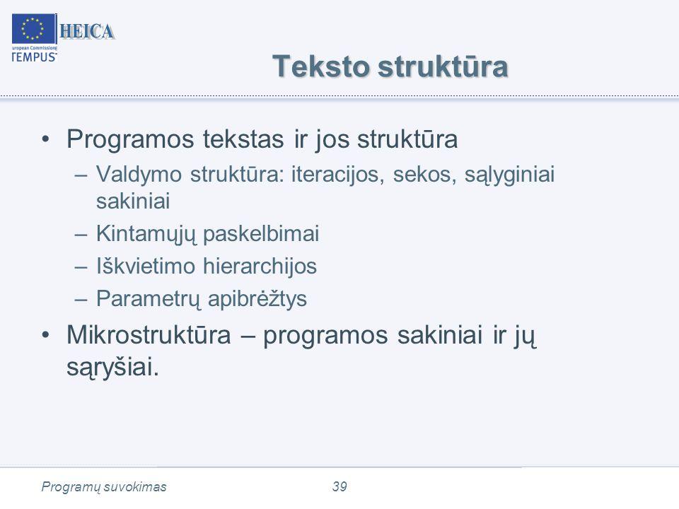 Programų suvokimas39 Teksto struktūra Programos tekstas ir jos struktūra –Valdymo struktūra: iteracijos, sekos, sąlyginiai sakiniai –Kintamųjų paskelbimai –Iškvietimo hierarchijos –Parametrų apibrėžtys Mikrostruktūra – programos sakiniai ir jų sąryšiai.