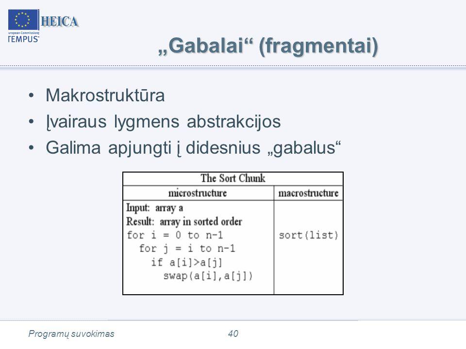 """Programų suvokimas40 """"Gabalai (fragmentai) Makrostruktūra Įvairaus lygmens abstrakcijos Galima apjungti į didesnius """"gabalus"""