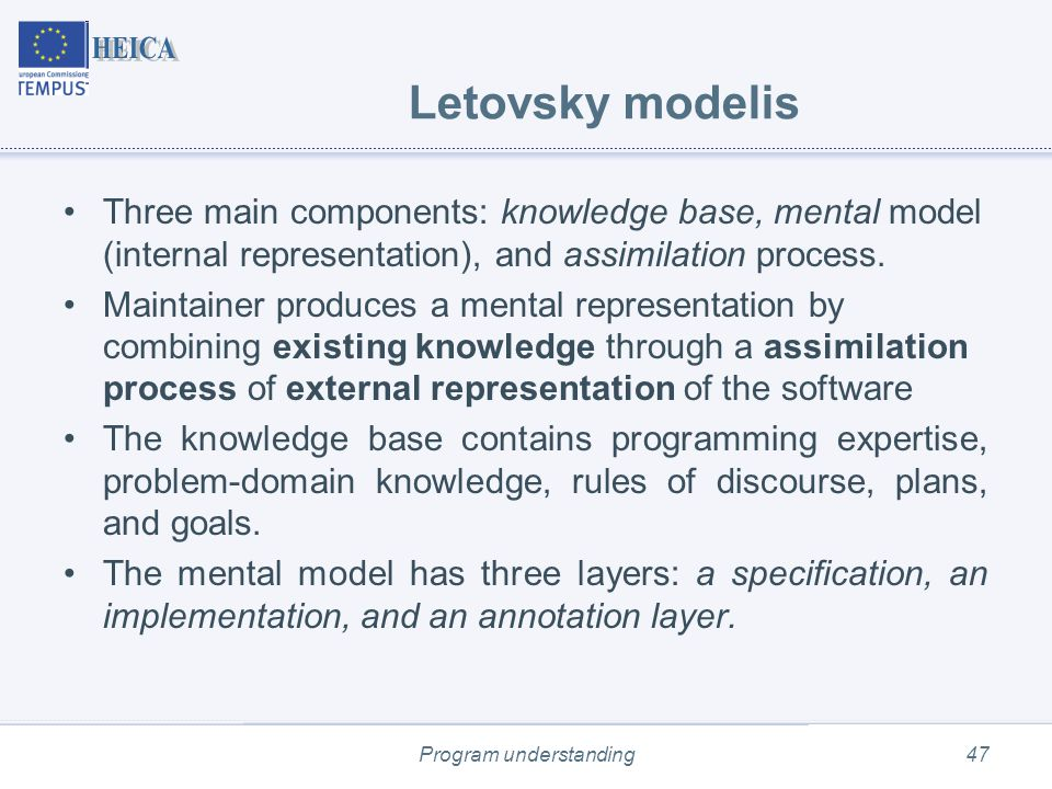 Program understanding47 Letovsky modelis Three main components: knowledge base, mental model (internal representation), and assimilation process.