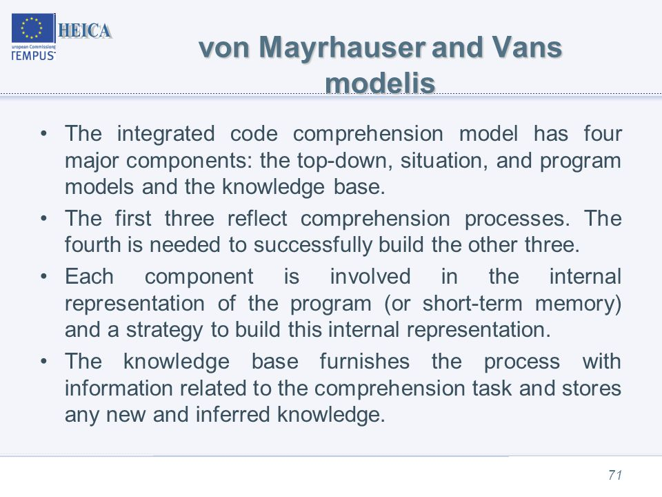 von Mayrhauser and Vans modelis The integrated code comprehension model has four major components: the top-down, situation, and program models and the knowledge base.