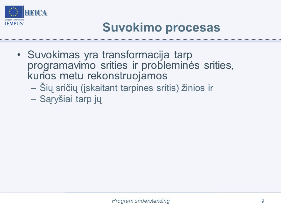 Program understanding9 Suvokimo procesas Suvokimas yra transformacija tarp programavimo srities ir probleminės srities, kurios metu rekonstruojamos –Šių sričių (įskaitant tarpines sritis) žinios ir –Sąryšiai tarp jų