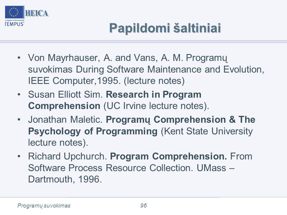 Programų suvokimas96 Papildomi šaltiniai Von Mayrhauser, A.