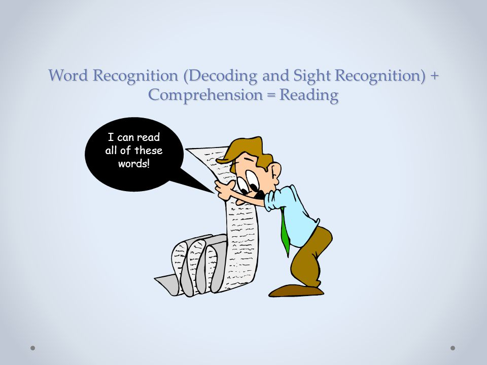 Word Recognition (Decoding and Sight Recognition) + Comprehension = Reading I can read all of these words!