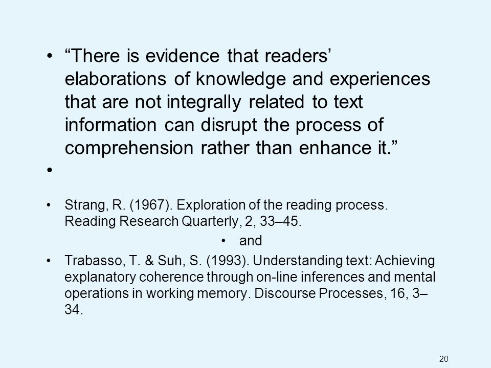 20 There is evidence that readers' elaborations of knowledge and experiences that are not integrally related to text information can disrupt the process of comprehension rather than enhance it. Strang, R.