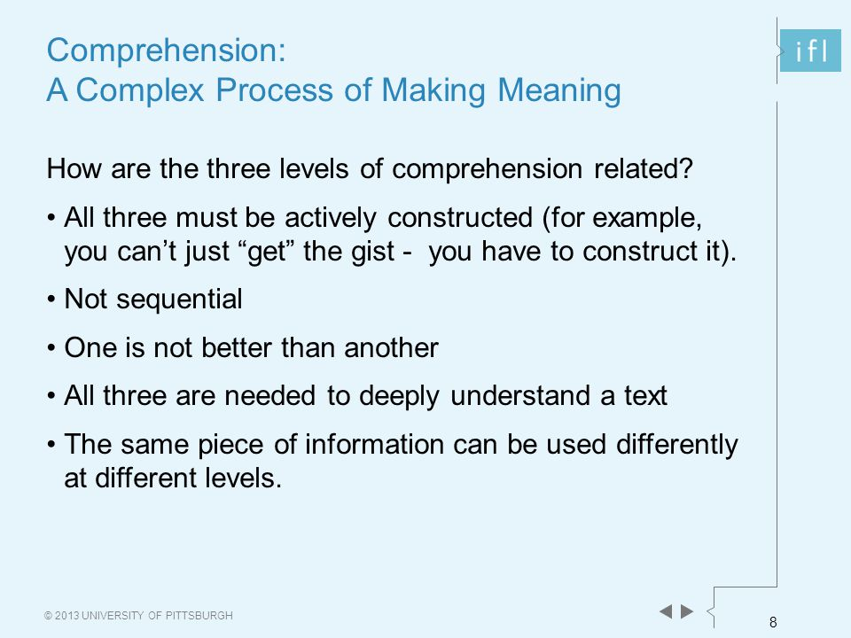 8 © 2013 UNIVERSITY OF PITTSBURGH Comprehension: A Complex Process of Making Meaning How are the three levels of comprehension related? All three must