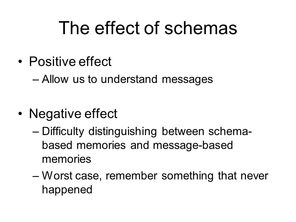 The effect of schemas Positive effect –Allow us to understand messages Negative effect –Difficulty distinguishing between schema- based memories and message-based memories –Worst case, remember something that never happened
