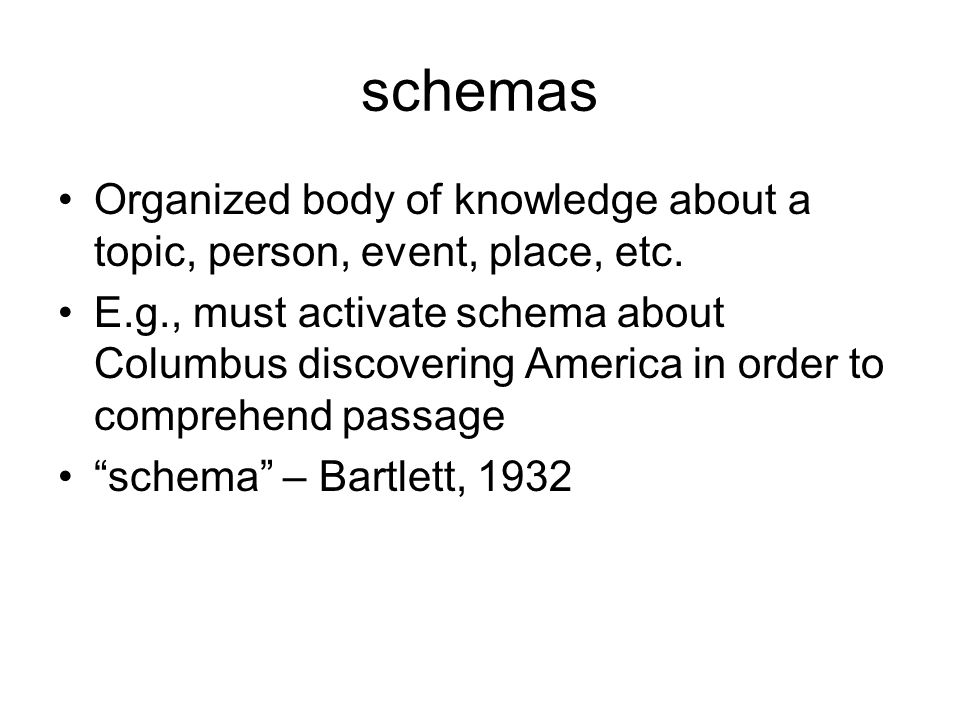 schemas Organized body of knowledge about a topic, person, event, place, etc.