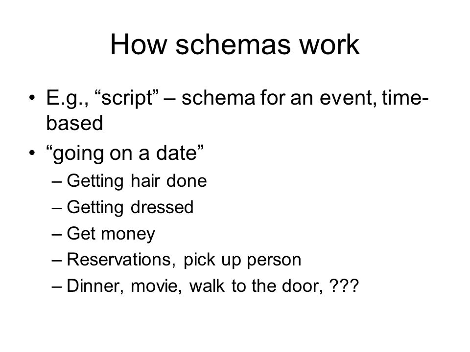 How schemas work E.g., script – schema for an event, time- based going on a date –Getting hair done –Getting dressed –Get money –Reservations, pick up person –Dinner, movie, walk to the door,