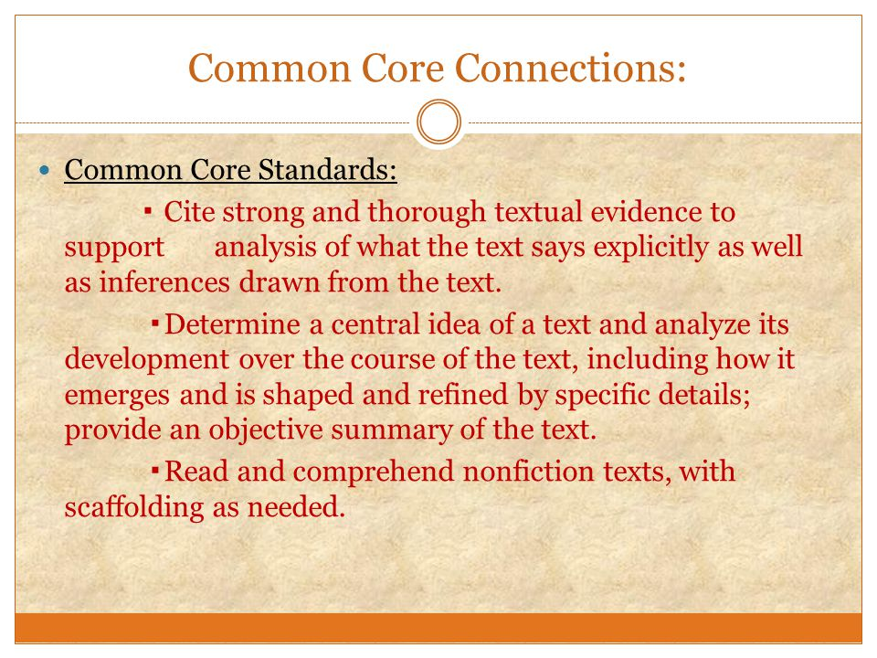 Common Core Connections: Common Core Standards: ▪ Cite strong and thorough textual evidence to support analysis of what the text says explicitly as we