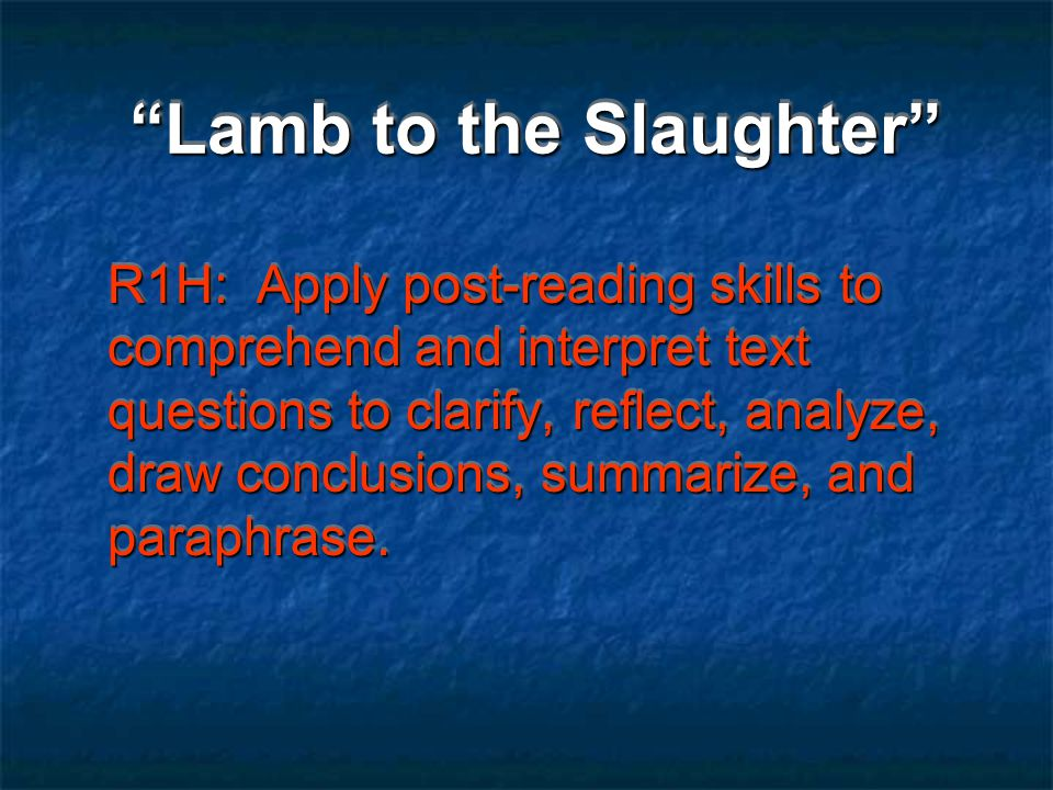 Lamb to the Slaughter administered Vocabulary