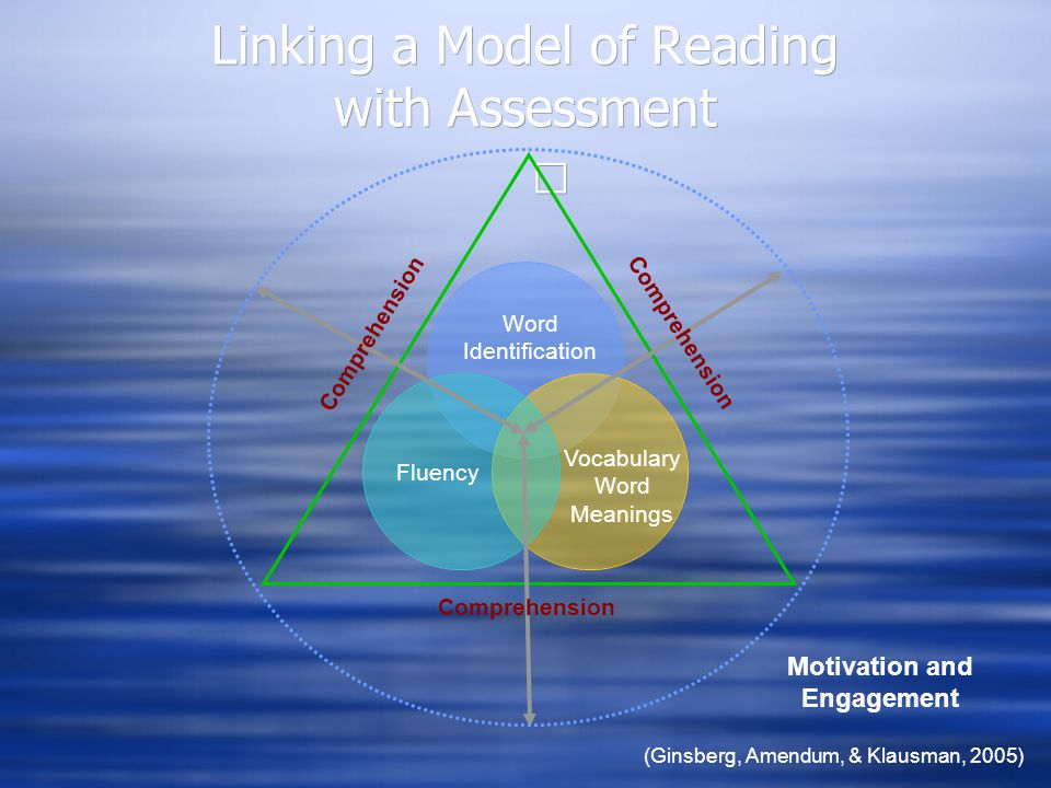 Linking a Model of Reading with Assessment Vocabulary Word Meanings Fluency Word Identification Motivation and Engagement (Ginsberg, Amendum, & Klausman, 2005) Comprehension