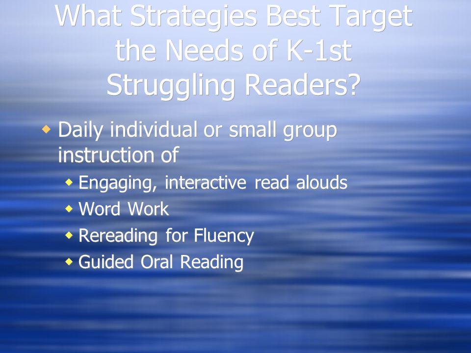 What Strategies Best Target the Needs of K-1st Struggling Readers.