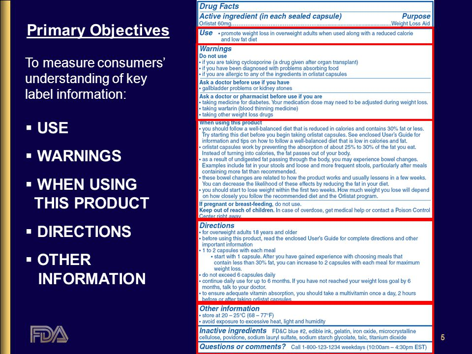 5 Primary Objectives To measure consumers' understanding of key label information:  USE  WARNINGS  WHEN USING THIS PRODUCT  DIRECTIONS  OTHER INFORMATION