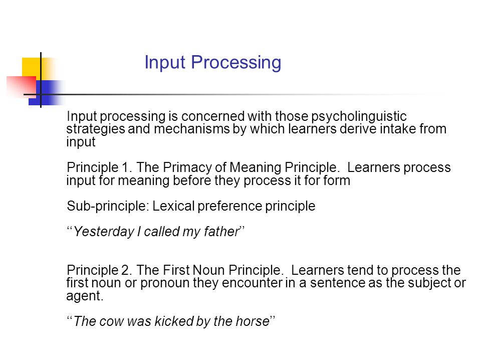 New Trends Learners receiving Processing instruction seems to develop an L2 driven intuition about the way language works (Italian data) Interpretation = PI > (TI = C) improvement = 25% Production = PI > (TI = C) improvement = 8%