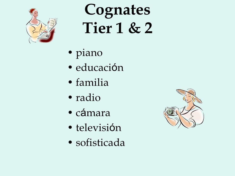 Cognates Tier 1 & 2 piano educaci ó n familia radio c á mara televisi ó n sofisticada