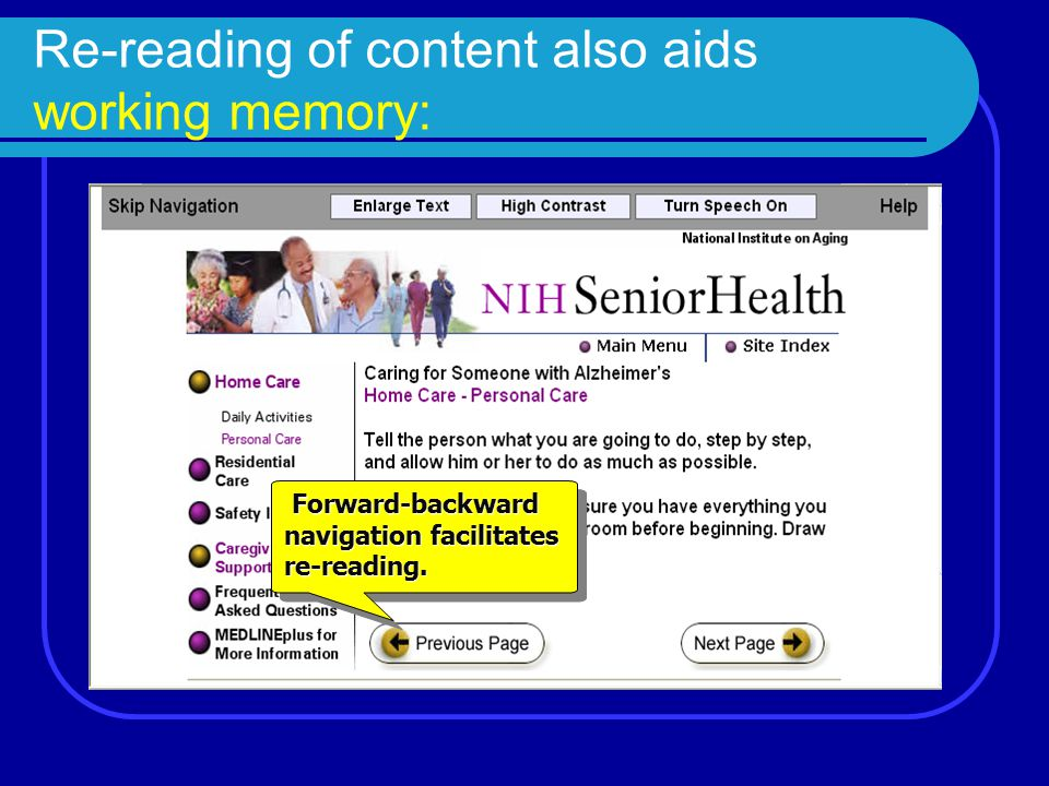 Re-reading of content also aids working memory: Forward-backward navigation facilitates re-reading.