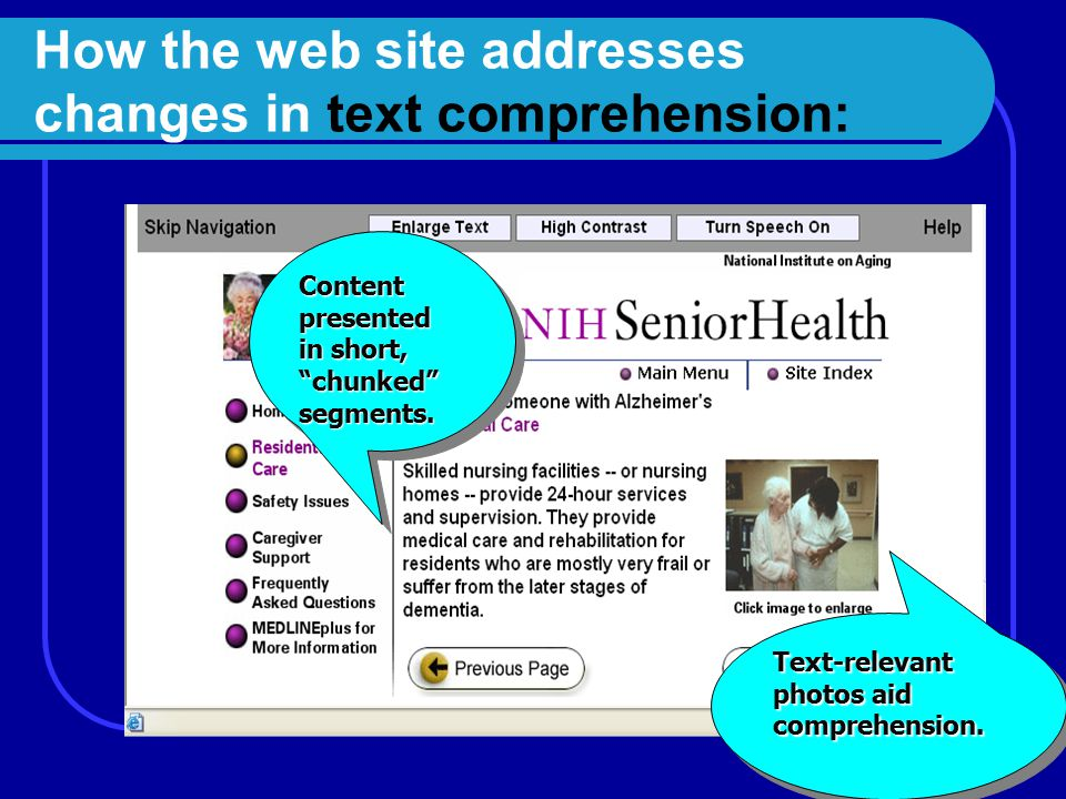"""How the web site addresses changes in text comprehension: Content presented in short, """"chunked"""" segments. segments. Text-relevant photos aid comprehen"""