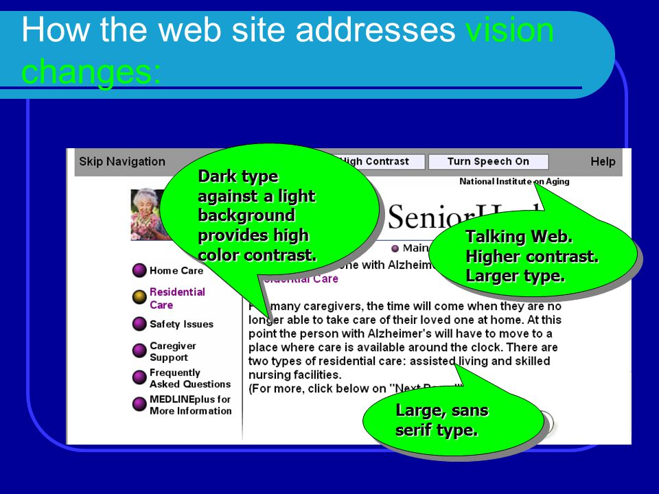 How the web site addresses vision changes: Talking Web. Higher contrast. Larger type. Talking Web. Higher contrast. Larger type. Dark type against a l
