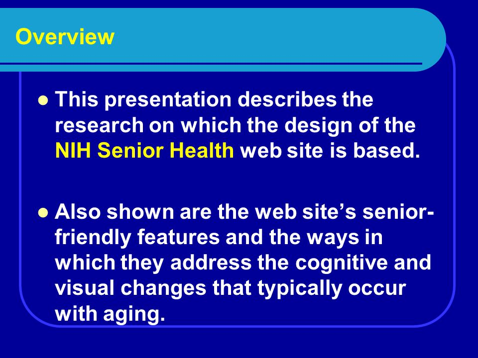 What is NIHSeniorHealth.