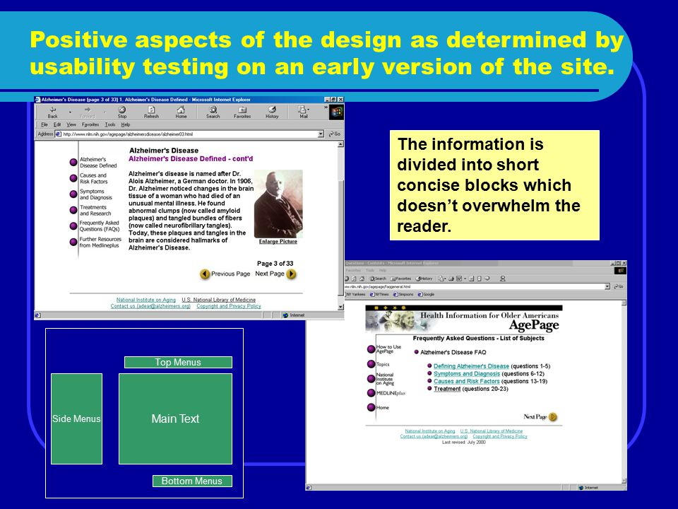 Positive aspects of the design as determined by usability testing on an early version of the site. The information is divided into short concise block