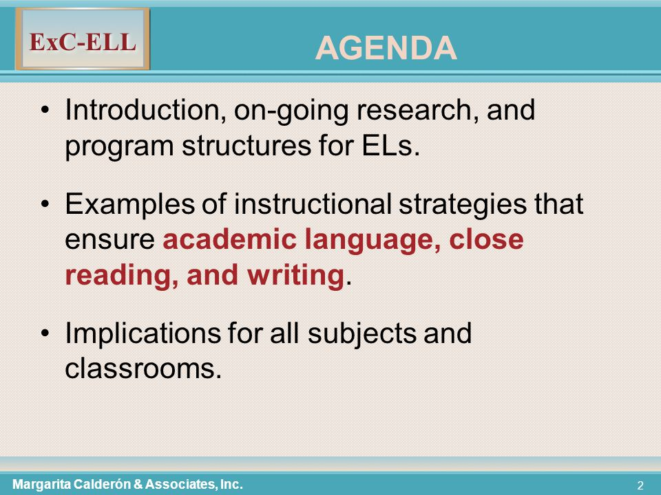ExC-ELL 33 Criteria for Selecting Words to Teach  It is critically important to the discipline.