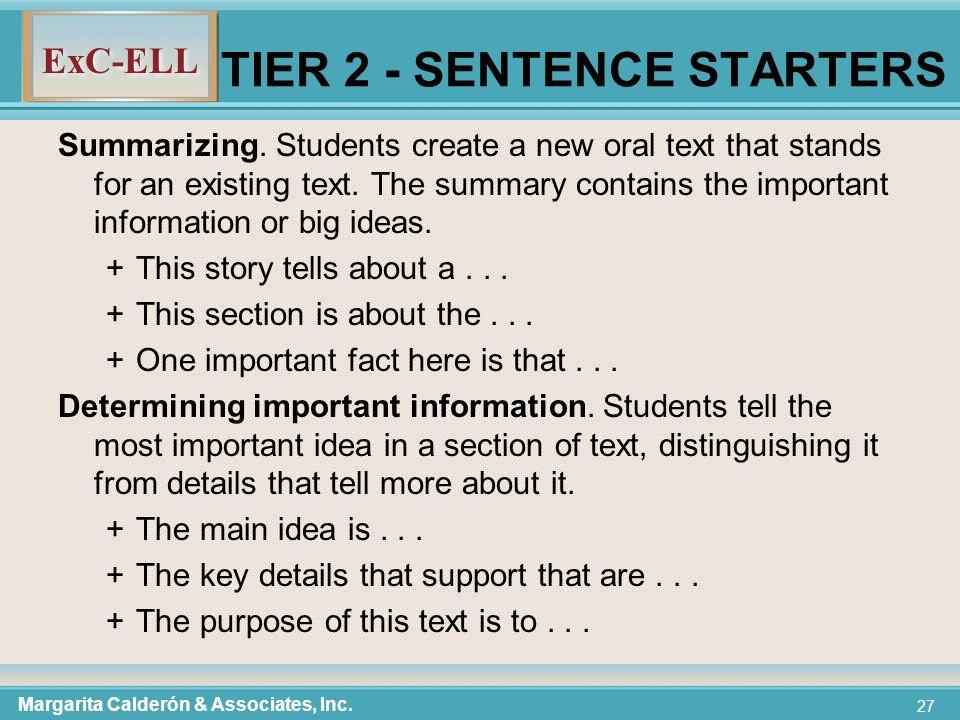 ExC-ELL 27 TIER 2 - SENTENCE STARTERS Summarizing.