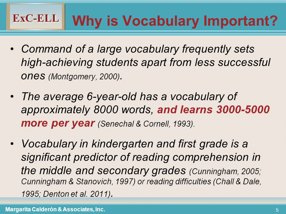 ExC-ELL 5 Why is Vocabulary Important.