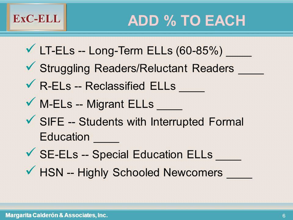 ExC-ELL 117 Build Background (3 min) Vocabulary-- 7 step process (10 - 12 min) Reading-- Read Aloud/Think Aloud (model strategy/skill) (3 min) More Vocabulary: During Read Aloud/Think Aloud (2 min) Partner Reading (practice strategy/skill) (10 min) Margarita Calderón & Associates, Inc.