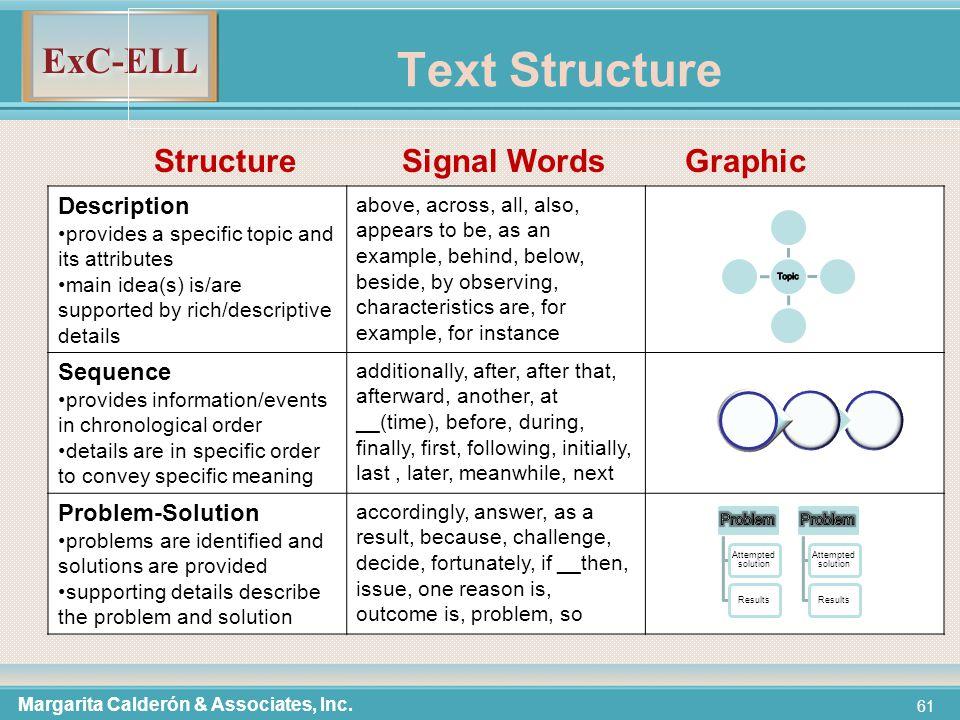 ExC-ELL 61 Text Structure Margarita Calderón & Associates, Inc.