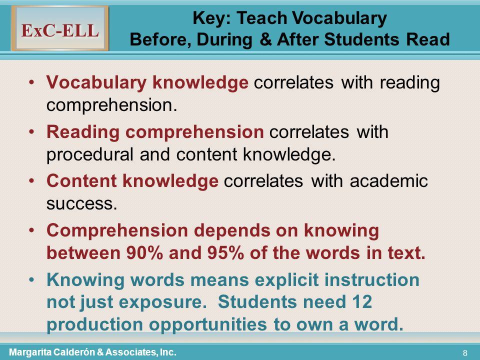 ExC-ELL 39 Pre-teaching Vocabulary Try to keep teacher talk to 1 minute for the 7 steps; students' practice to 1 minute (2 - 3 minutes per word).