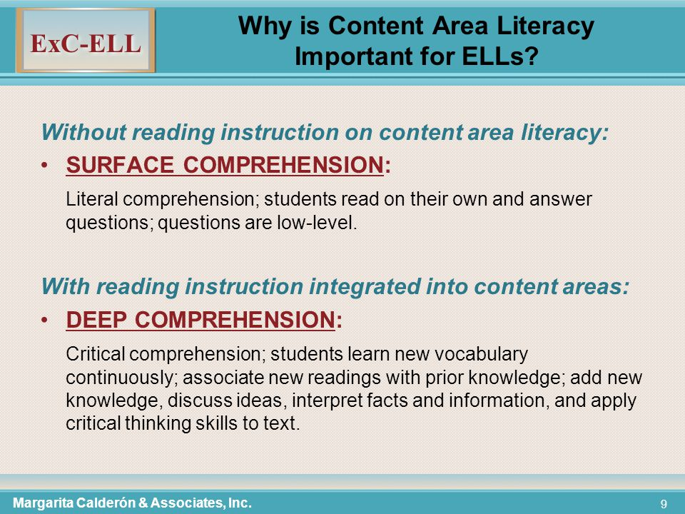 ExC-ELL 9 Why is Content Area Literacy Important for ELLs.