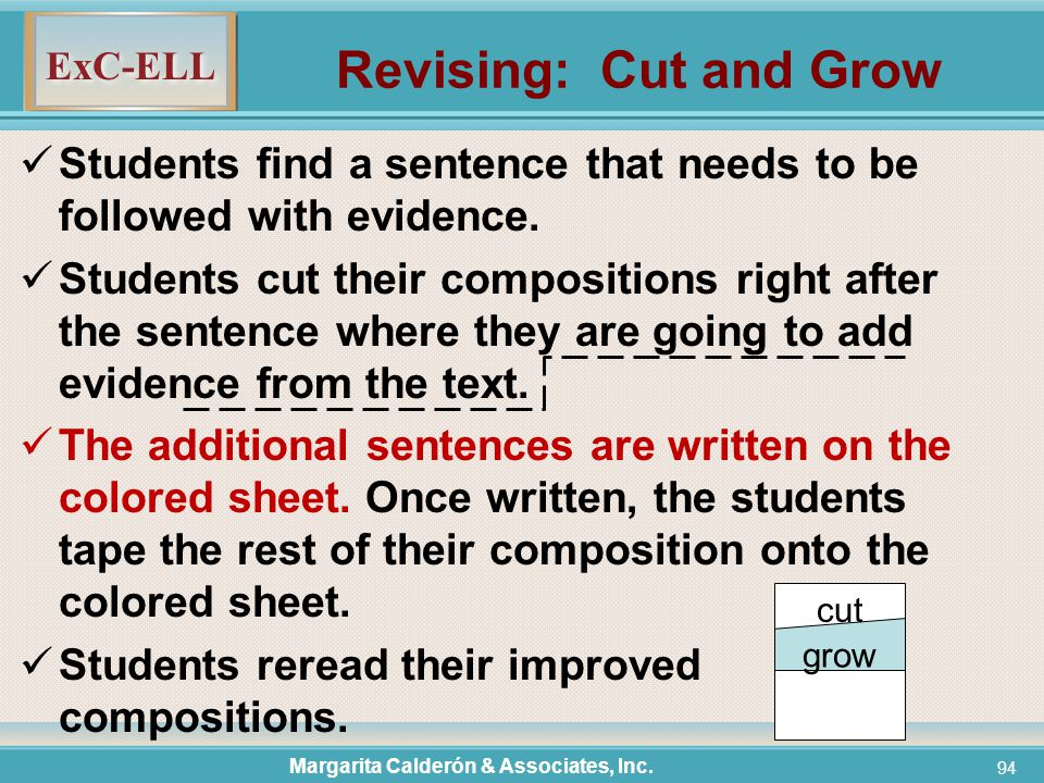 ExC-ELL 94 Revising: Cut and Grow Students find a sentence that needs to be followed with evidence.