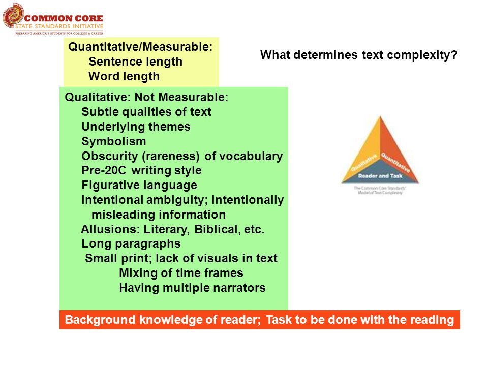 Qualitative: Not Measurable: Subtle qualities of text Underlying themes Symbolism Obscurity (rareness) of vocabulary Pre-20C writing style Figurative language Intentional ambiguity; intentionally misleading information Allusions: Literary, Biblical, etc.