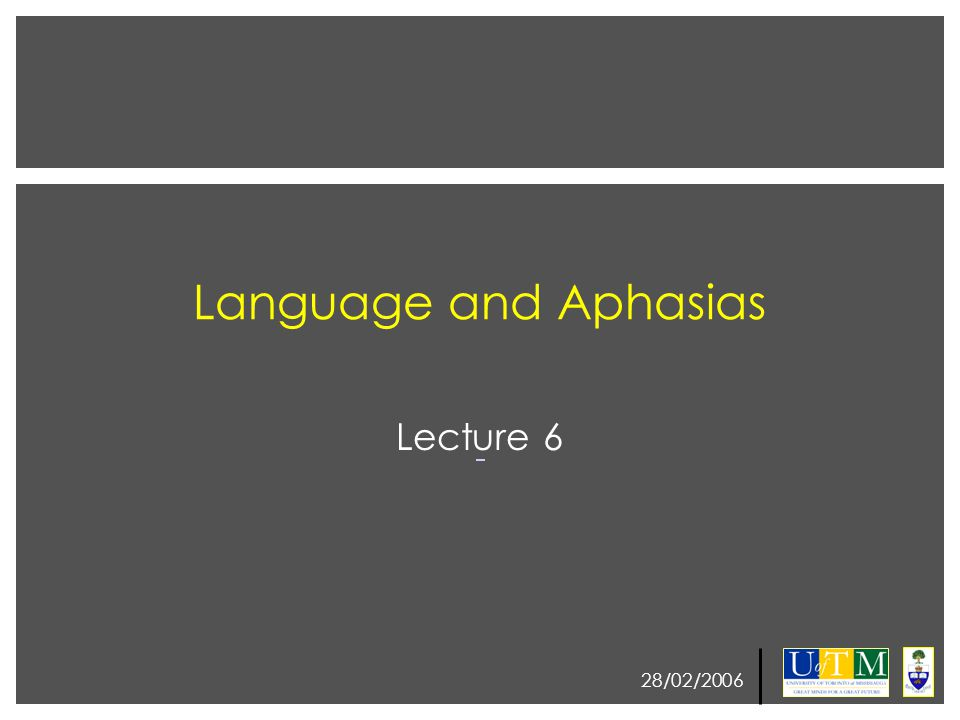 28/02/2006 Language and Aphasias Lecture 6
