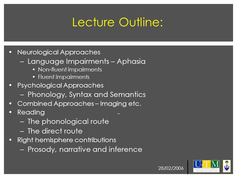 28/02/2006 Psychological Perspective Semantics Semantics – meaning of words and word combinations Sentences might have different syntactic structure yet have approximately the same meaning Immediatelly after the class I started to study As soon as the class was over I initiated my studying Wernicke's aphasia is characterized by semantic deficits (understanding the meaning of words).